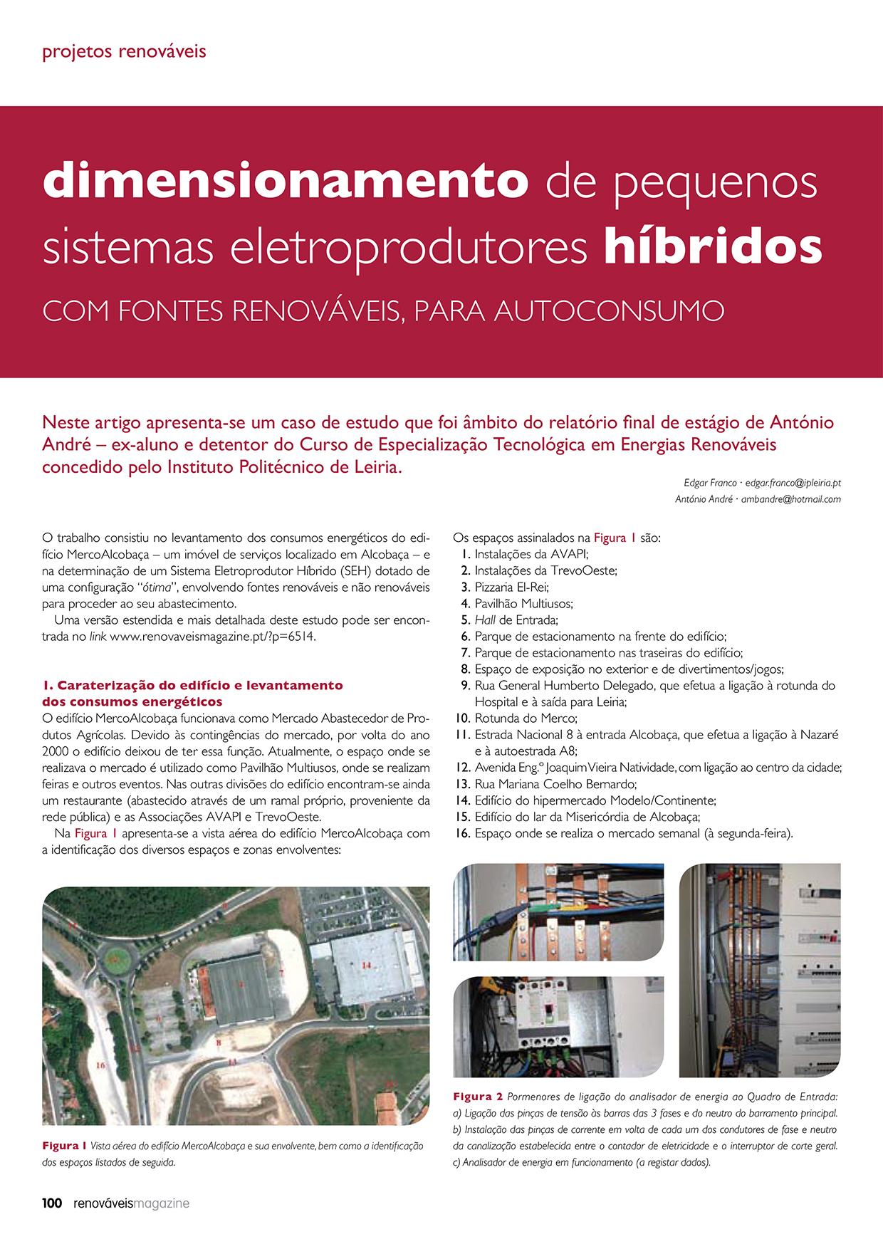 Artigo sobre Dimensionamento de pequenos sistemas eletroprodutores híbridos