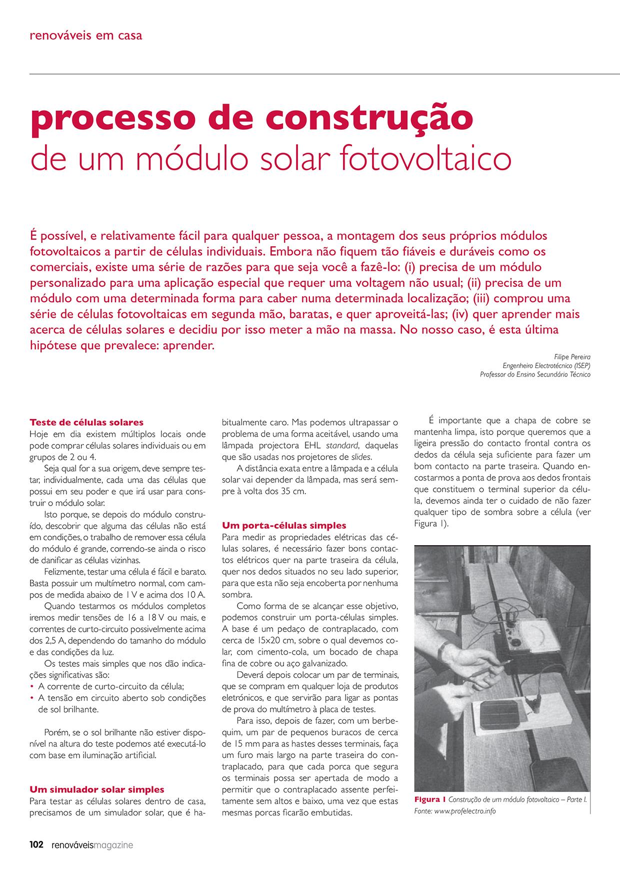 Artigo sobre o Processo de construção de um módulo solar fotovoltaico