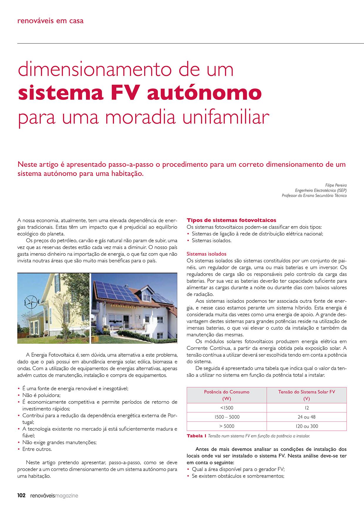 Artigo sobre Dimensionamento de um sistema FV autónomo para uma moradia unifamiliar