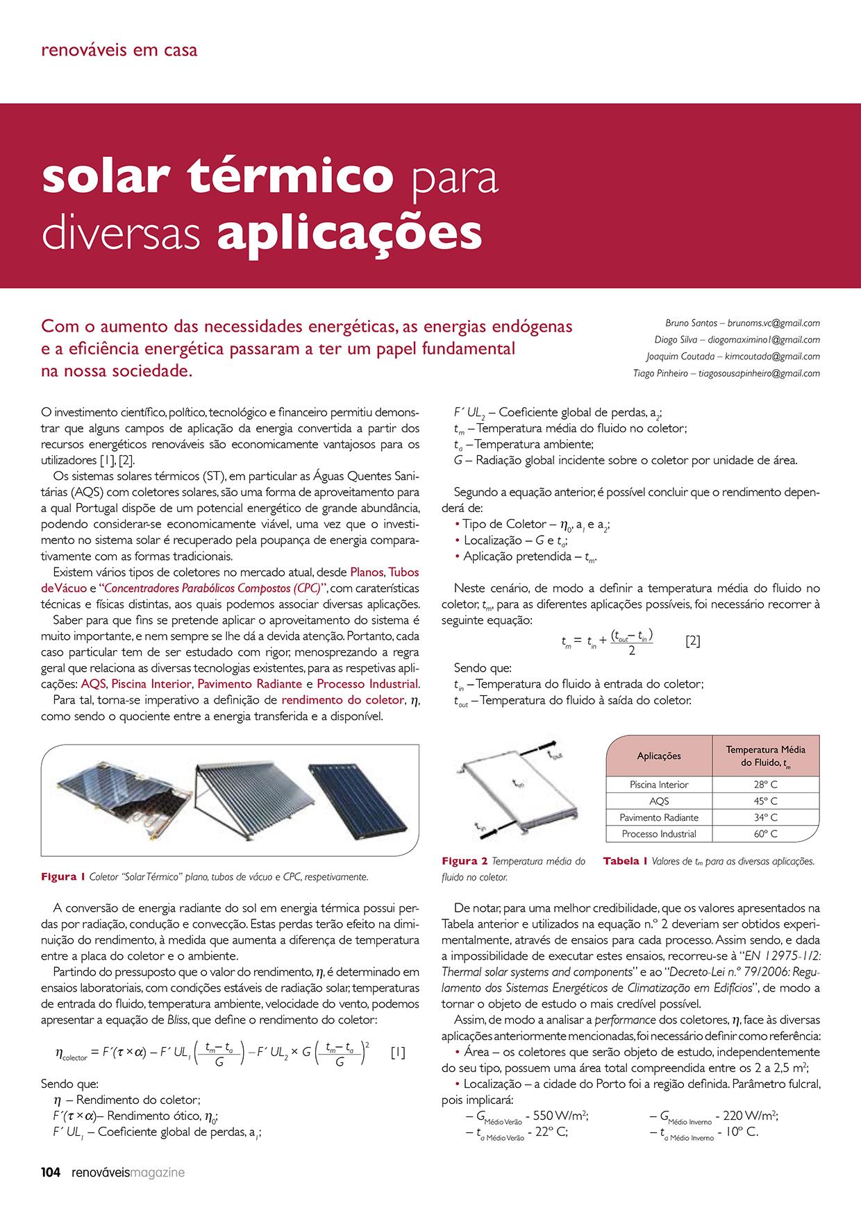 Artigo sobre solar térmico para diversas aplicações