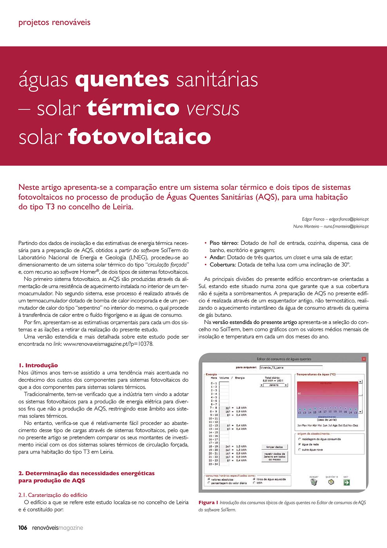 Artigo sobre Águas quentes sanitárias – solar térmico versus solar fotovoltaico