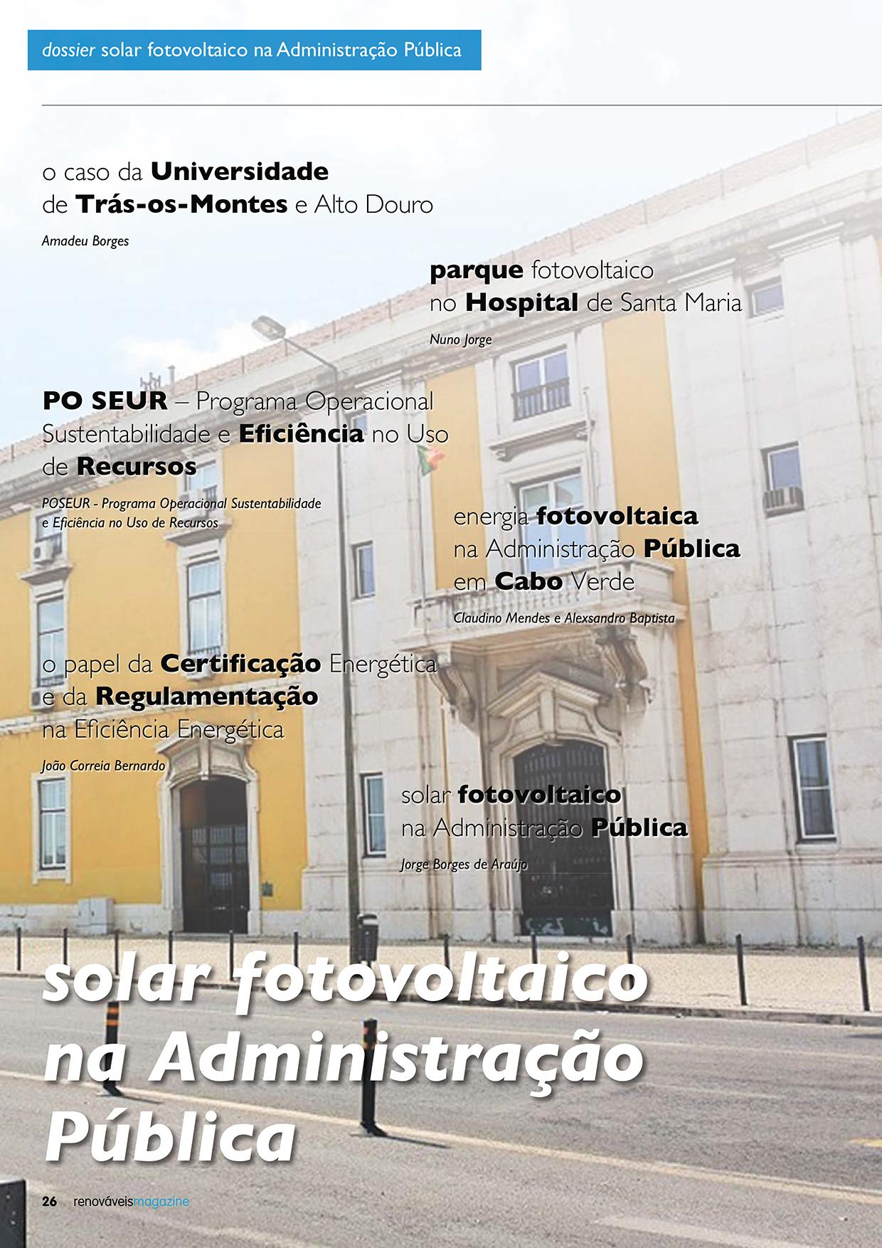 Dossier sobre Solar fotovoltaico na Administração Pública