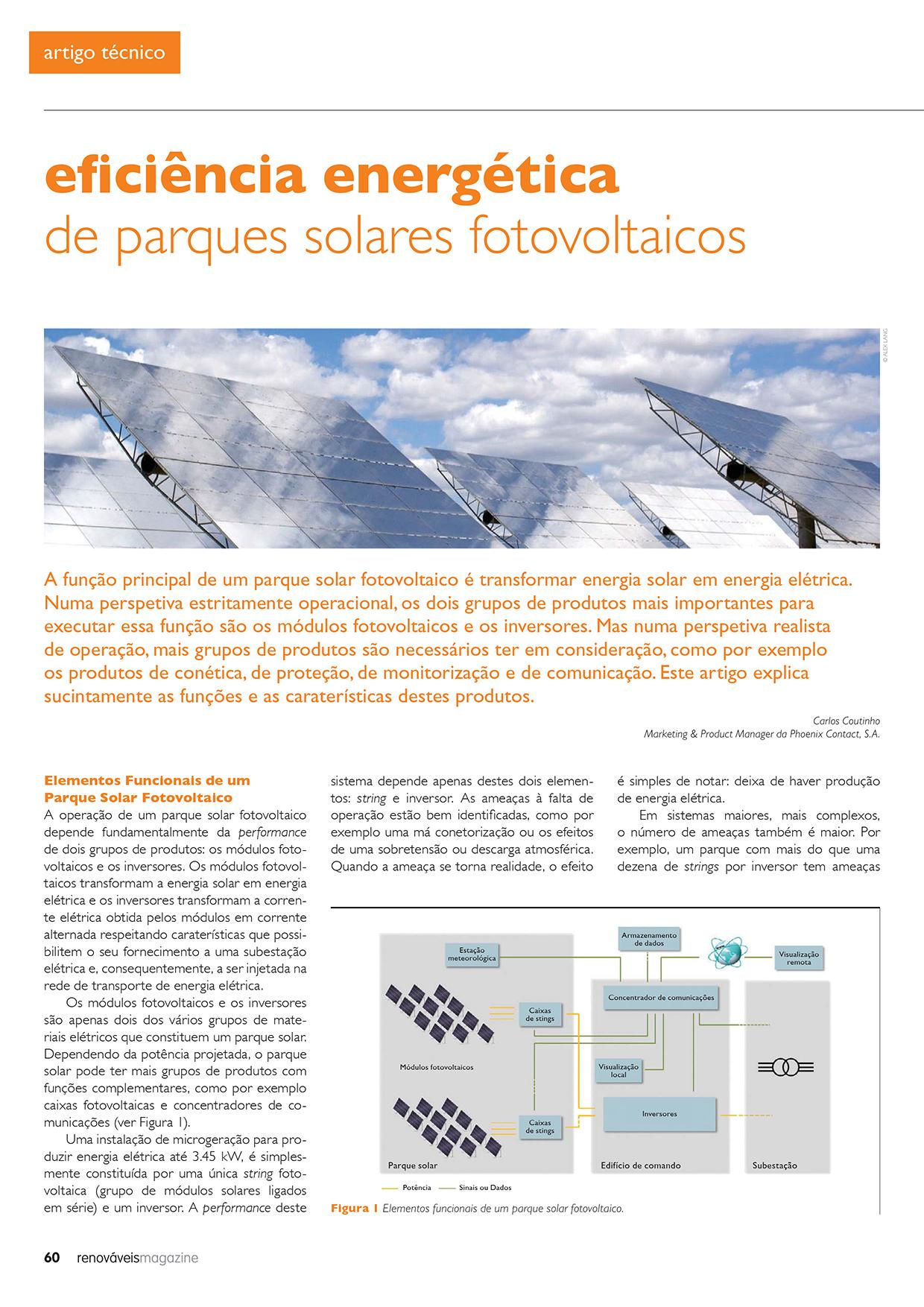 Artigo sobre eficiência energética de parques solares fotovoltaicos