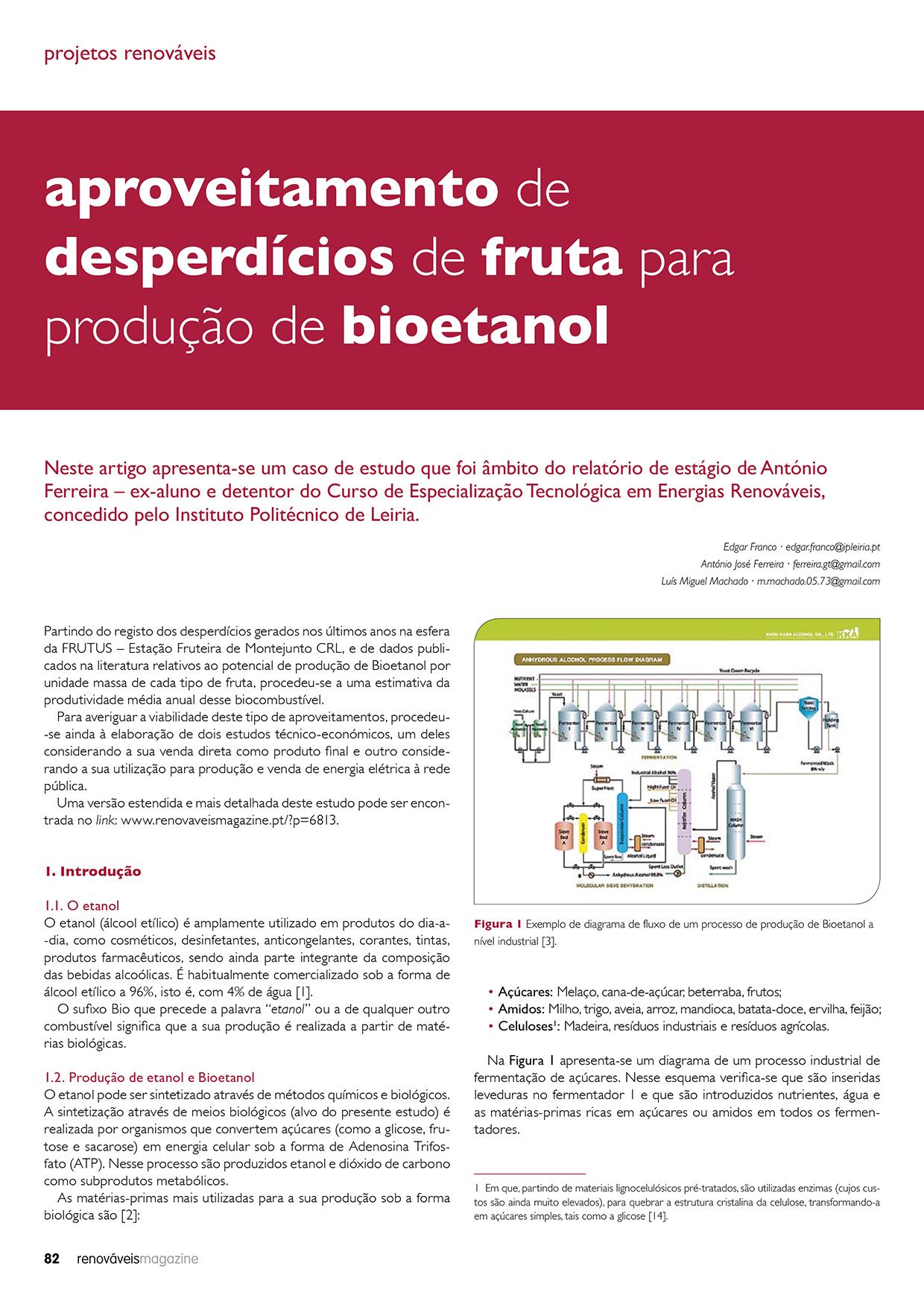 Artigo sobre Aproveitamento de desperdícios de fruta para produção de bioetanol
