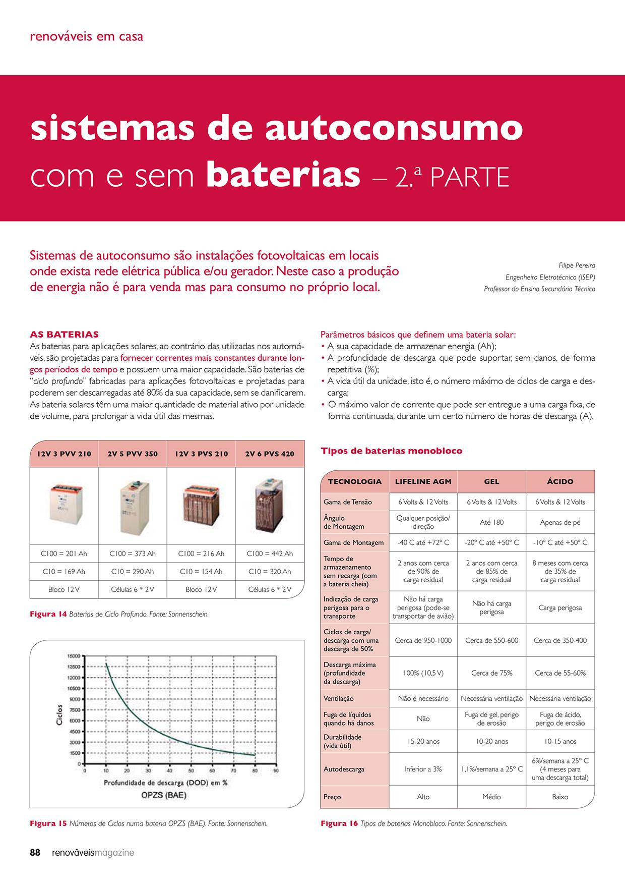 Artigo sobre sistemas de autoconsumo com e sem baterias