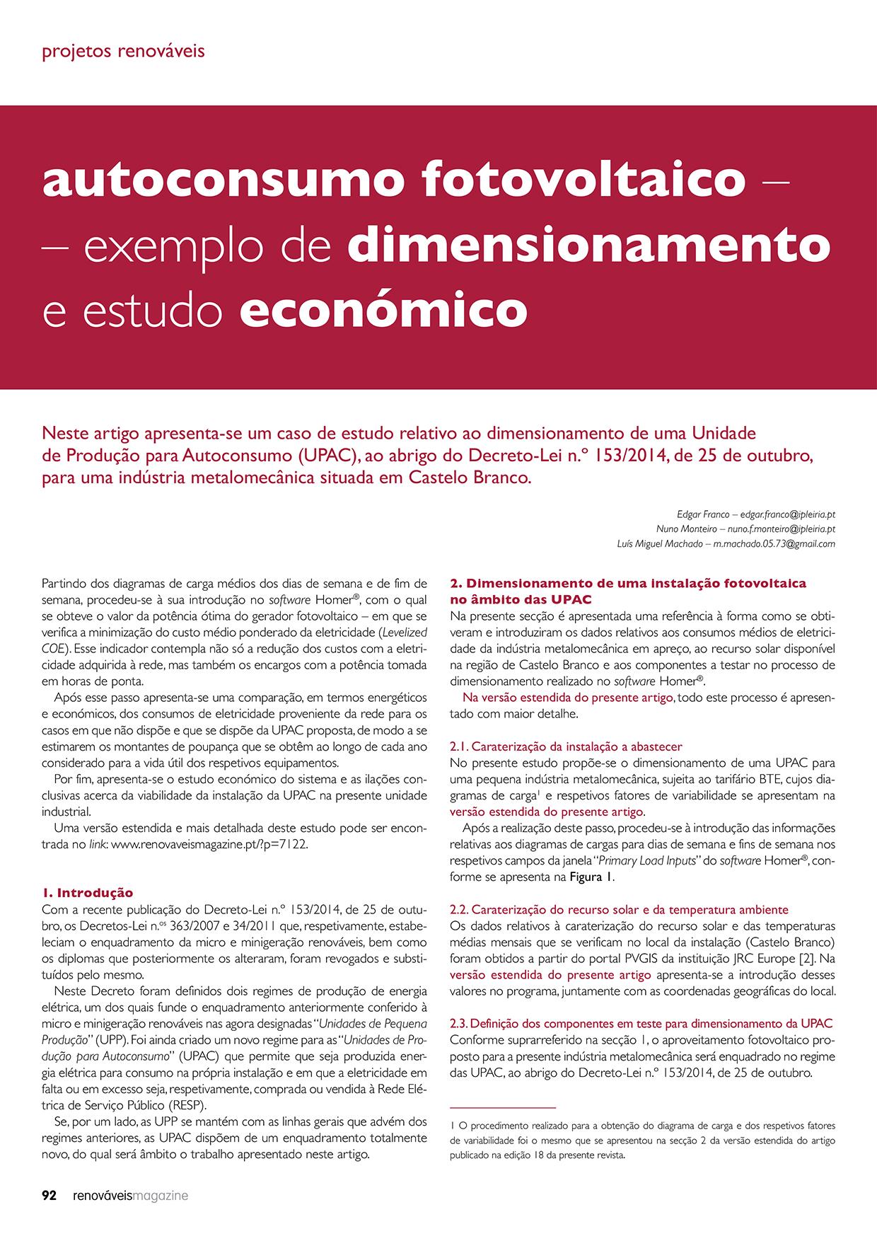 Artigo sobre Autoconsumo Fotovoltaico da edição 20