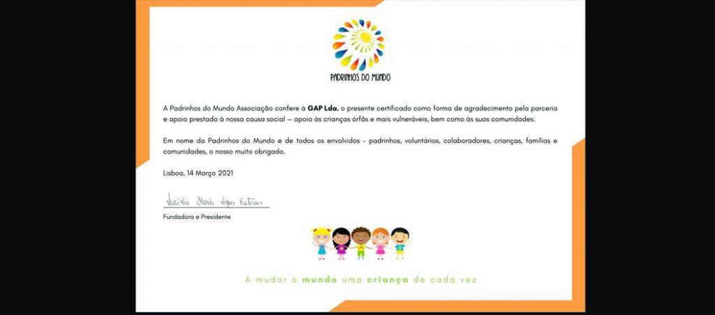 """GAP apoia causa social """"Padrinhos do Mundo"""""""